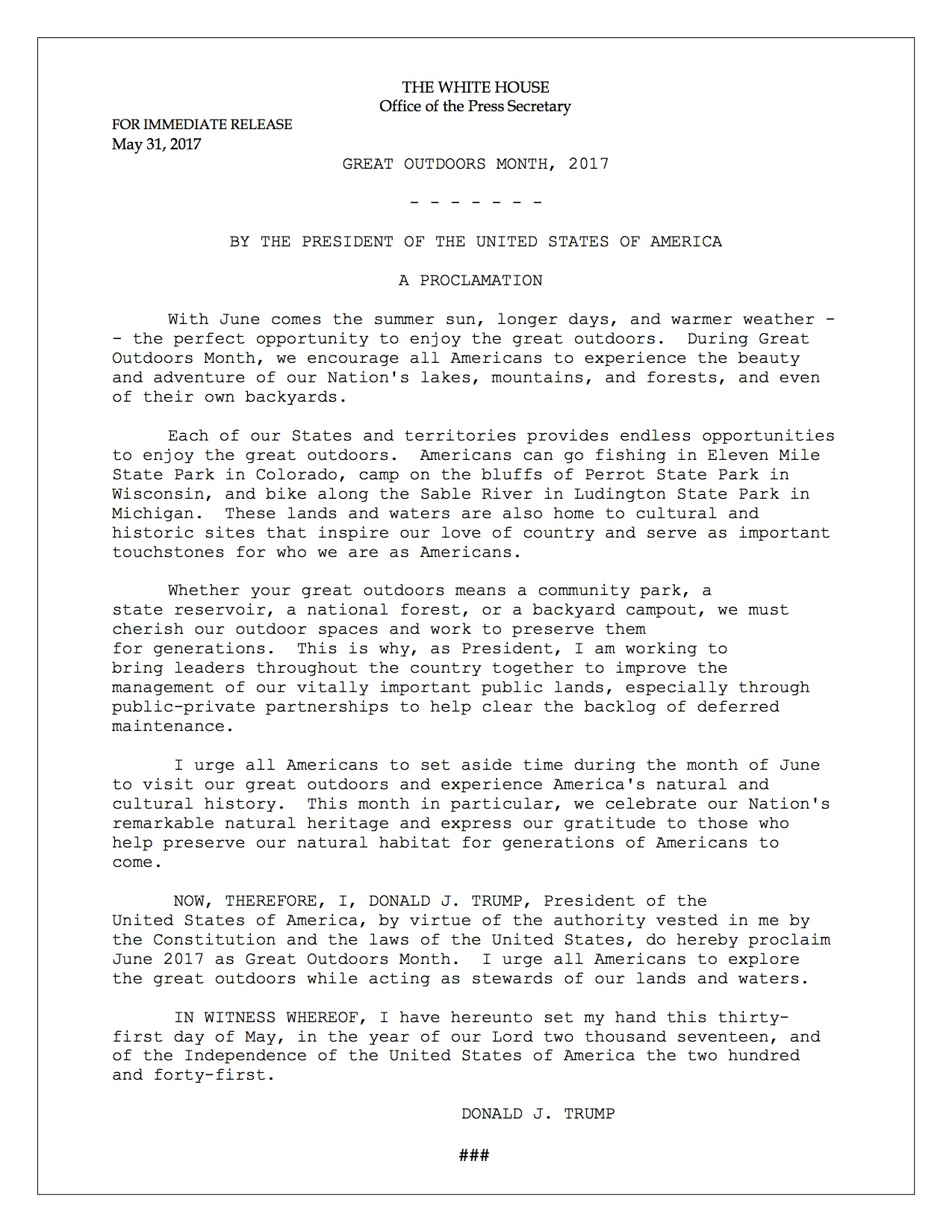 Great Outdoors Month Presidential Proclamation